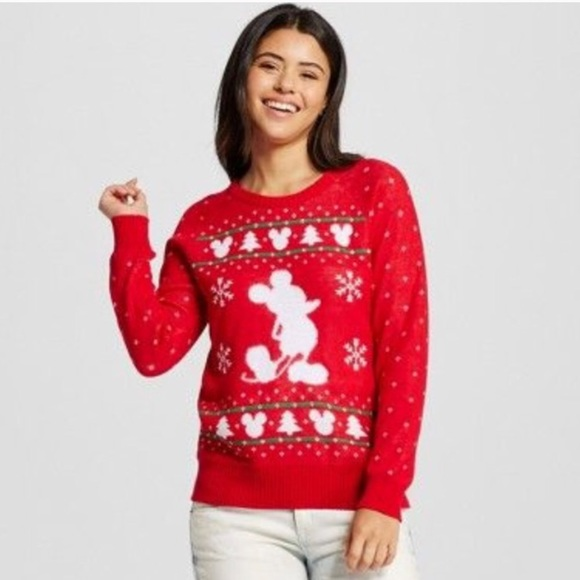 disney mickey mouse christmas sweater large red - Mickey Mouse Christmas Sweater